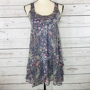 Miss Selfridge Dress Sleeveless Paisley Ruffled